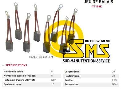 Kit 8 Bosch Escobillas 12 20 32 MM Motor FENWICK Linde Carretilla...