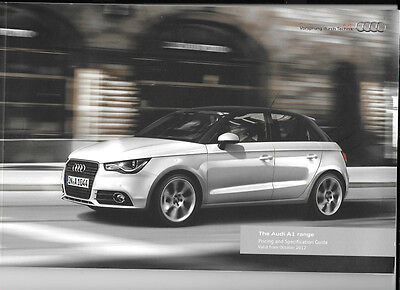 AUDI A1 RANGE COMPREHENSIVE PRICES & SPECIFICATION SALES CATALOGUE OCTOBER 2012