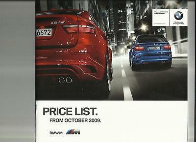 BMW X5 M & X6 M  (INC. INDIVIDUAL) + COLOUR  PRICES SALES BROCHURE OCTOBER 2009