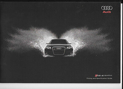 AUDI RS 4 QUATTRO ILLUSTRATED PRICES AND SPECIFICATIONS SALES BROCHURE MAY 2007