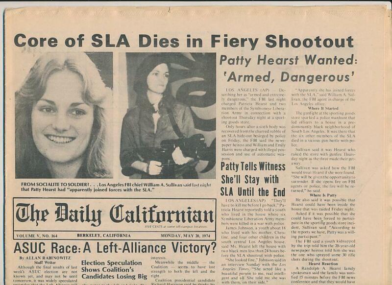 "1974 Berkeley Student Daily Newspaper ""Patty Hearst Wanted"", SLA, Camilla Hall"