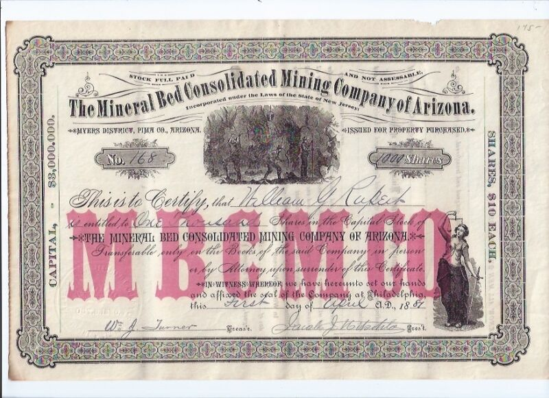 1881 MINERAL BED CONSOLIDATED MINING of ARIZONA MYERS DIST PIMA COUNTY STOCK 168