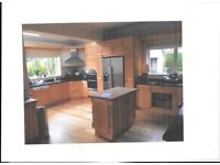 Solid maple kitchen,island, granite worktops, oven and sink already dismantled