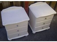 Pair 2 Two Pine Bedside Tables Cabinets Drawers White Upcycle Shabby Chic
