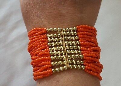 (New Women's Fashion Jewelry Dark Orange Genuine Strand Beaded Stretch Bracelet)