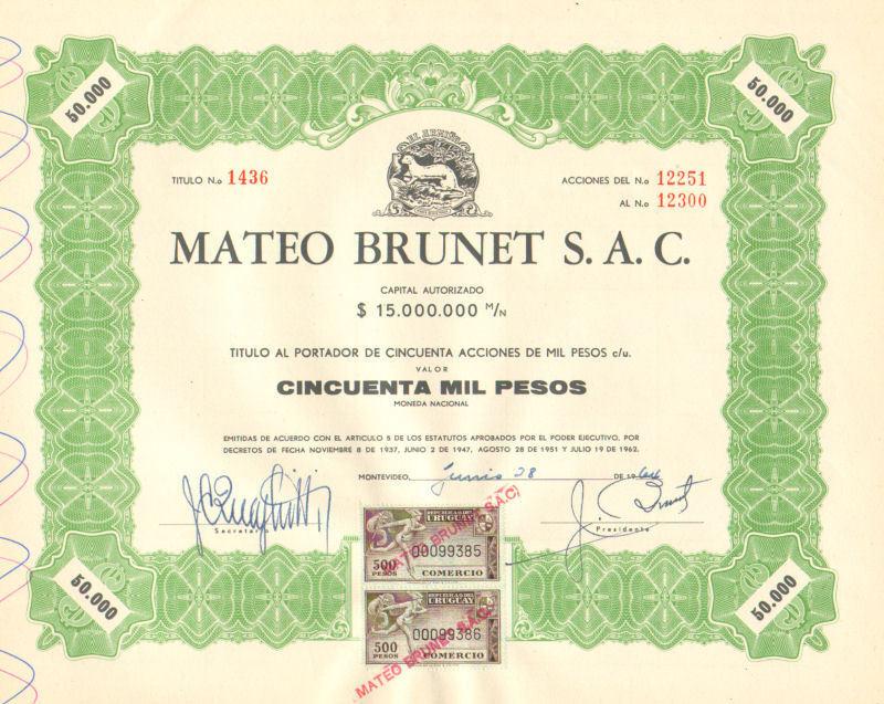 Mateo Brunet > 1964 Uruguay 50,000 pesos old bond certificate