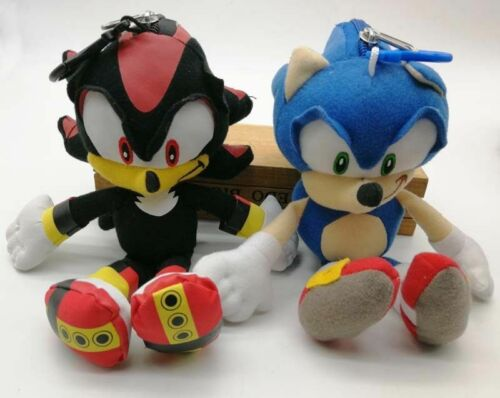 "2PC SET: 8"" Sonic & Shadow The Hedgehog Plush Doll Key Chain Coin Bag Clip NWT"