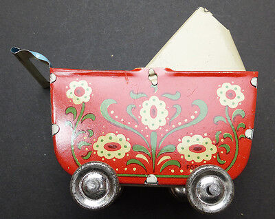 Vintage 1950s Hungarian Tin Toy Pram with Moveable Hood - 8cm long