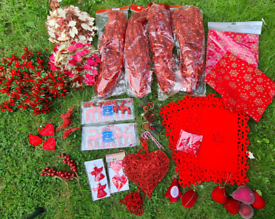 Job lot of Red Christmas decorations