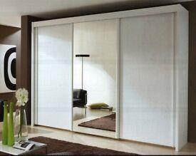 ❤💖❤HUGE 250 CM WIDE❤90% OFF❤Brand New Full Mirror 2 Door Berlin Sliding Wardrobe w Shelves, Hanging