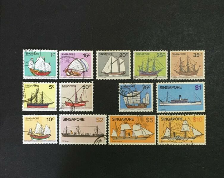 Singapore 1980 ship 12 Used Stamps