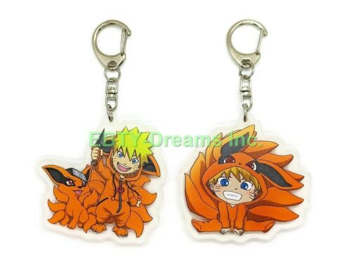 Set of 2 Naruto Anime Acrylic Keychain Uzumaki Naruto, Kurama Nine-Tailed Fox