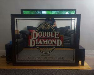 """Miroir publicitaire de bière Double Diamond GRAND FORMAT 53""""×41"""""""