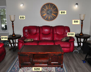 Rustic coffee , end tables, lamps & clock