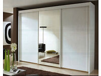 *Brand New* 3 Door Monaco Sliding Wardrobe Cupboard with Full Mirror Avble Black/White/Wenge/Walnut