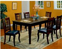 Blowout Sale - 7 Piece Leather Chair Dining Table Set Starts