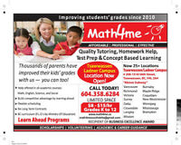 MATH4ME NOW OPEN LADNER & TSAWWASSEN CAMPUS TUTORING