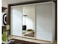 🔥💥❤GERMAN WOOD🔥💥Brand New Berlin Full or Half Mirror 2 Door Sliding Wardrobe w/ Shelves, Hanging
