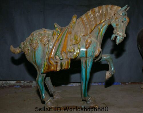 "20.4"" Antiquity China Tang San Cai Green Glaze Pottery Dynasty Run Horse Statue"