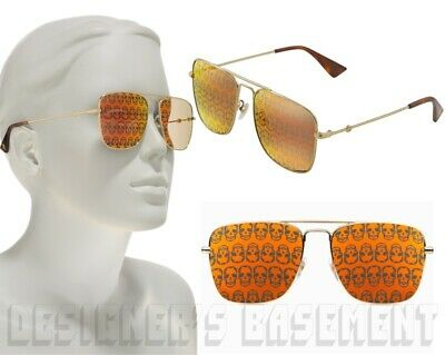 GUCCI gold orange SKULL sqre Mirror lenses 0108/S Pilot Sunglasses NIB Auth $420