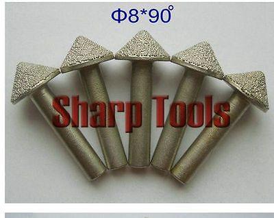 5pcset 8mm 90 Angle V Shape Pcd Diamond Cnc Router Bit Granite Stone Engraving