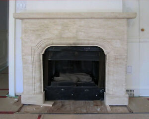 Travertine limestone fireplace mantel