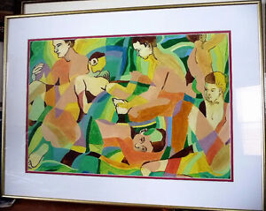 "Modern Abstract Figures, Listed Artist Joyce Kellock ""Six Girls"" Stratford Kitchener Area image 1"