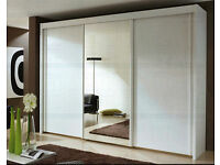 Brand New 3 Door Monaco Sliding Wardrobe Cupboard with Full Mirror