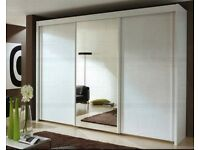 CASH ON DELIVERY 250cm WIDE MONACO 3 DOOR SLIDING WARDROBE WITH FULL MIRROR IN BLACK/WHITE/WALNUT/