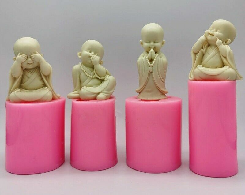 4 Pcs Silicone Mold Monk Buddha Statue Candle Soap DIY Buddhism Zen Decor
