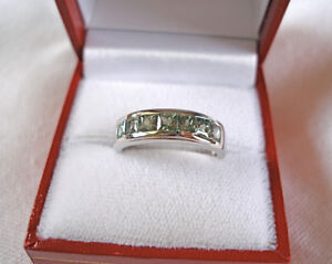 1.4 Ct. Green Sapphire  Sterling Silver Journey Ring