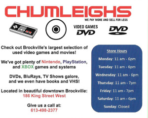 WE BUY VIDEO GAMES, TV SERIES, DVD'S AND CONSOLES. @ CHUMLEIGHS