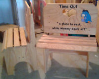 Oak Time Out Bench or square stools