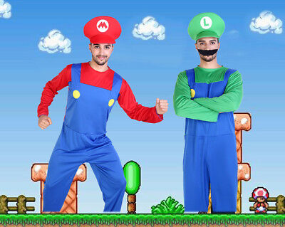 Cute Unisex Super Mario and Luigi Workmen Couples Cosplay Fancy Costumes Clothes