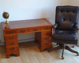 Beautiful yew leather top desk and chair