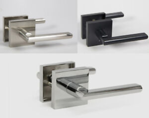 Halifax Square Rose Door Handle Lever Lock Set with Push Button