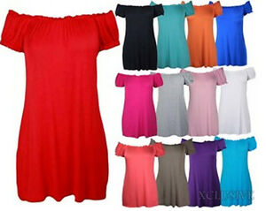 LADIES-PLUS-SIZE-OFF-SHOULDER-GYPSY-LONG-TOPS-STRETCH-SUMMER-BOHO-TOPS-14-28-NEW