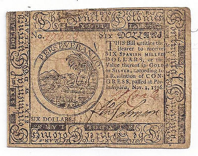 1776 The United Colonies, Philadelphia Six Dollar Colonial Currency Note