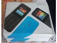 Nokia 105 - Black/Blue (Unlocked) Mobile Phone Cheap Basic Sim Free