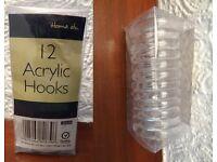 New 24 Acrylic Plastic PP material Transparent Circular Hooks Rings Rail Secure Curtain Door Holders
