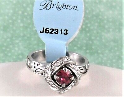 """NEW BRIGHTON """"ETERNITY KNOT"""" RED CRYSTAL RING SIZE (9) WITH TAG $56"""