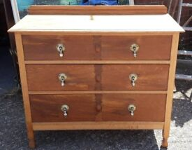 Early 20th Century Stripped And Waxed Oak Chest Of Three Mahogany Stained Drawers