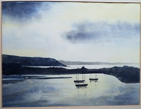 VINTAGE WATERCOLOUR PAINTING OF YNYSLAS FROM ABERDOVEY BY JOAN NEWMAN
