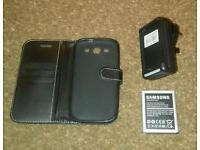Samsung S3 battery, Charger and case vgc
