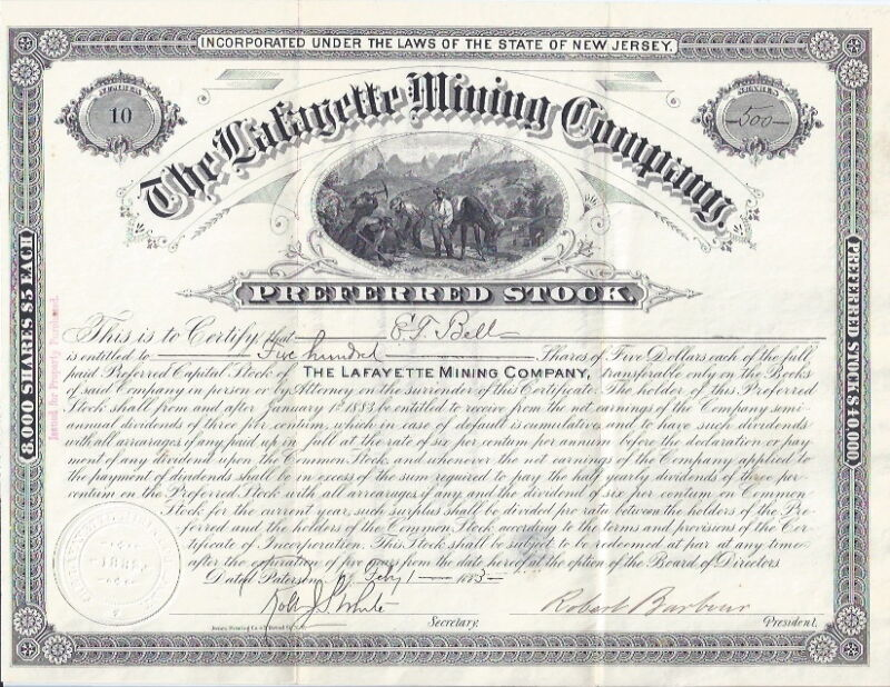 1882 LAFAYETTE MINING COMPANY NEW JERSEY STOCK CERTIFICATE #10