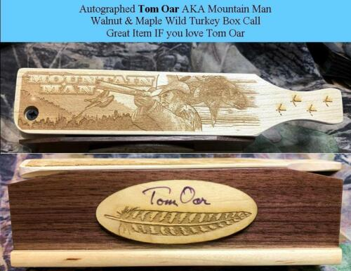 Tom Oar Mountain Man Wild Turkey Box Call Autographed w autographed picture