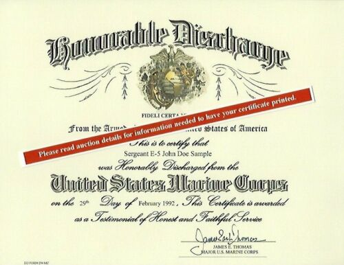 U.S. Marine Corps Honorable Discharge Replacement Certificate