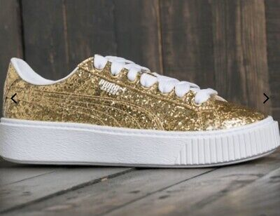 BNIB Gold Puma Basket Glitter Platforms - Size UK 6 £89.99
