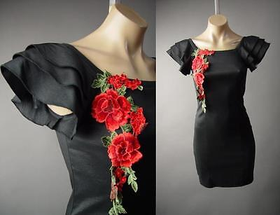 Ruffle Frill Sleeve Spanish Rose Flower Embroider Patch Black Party 227 mv (Frill Flower)