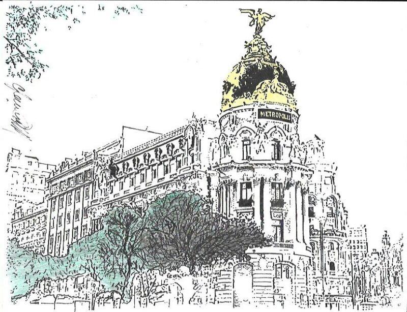 Metropolis Building Madrid Drawing